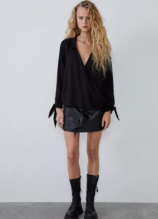 Черная блуза топ с завязками zara