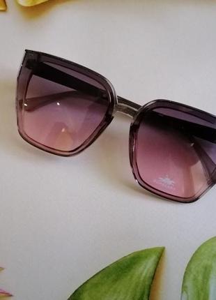 Эксклюзивные брендовые прозрачно розово серые солнцезащитные женские очки 2021