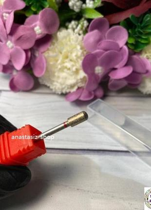 Фреза алмазная - цилиндр с закругленным торцом, диаметр 4 мм, рабочая часть 7 мм, красная