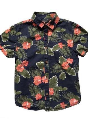 Хлопкова пляжная рубашка для мальчика 6-7 лет