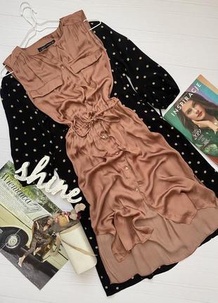 Воздушное платье рубашка от zara длины миди
