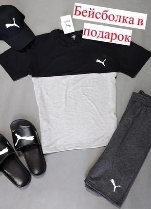 В подарок бейсболка мужской летний костюм puma черно-серый