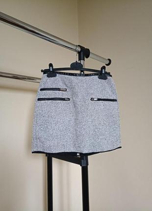 Мини юбка твид,  зара,  твидовая юбка