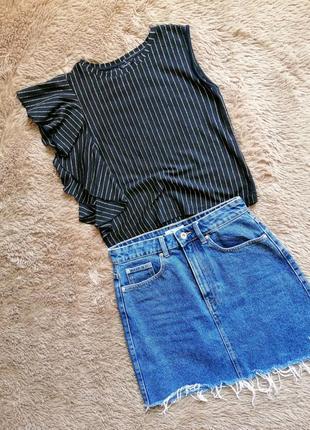 Топ в полоску, топ нарядный, топ с воланом, блузка летняя нарядная, кофточка летняя