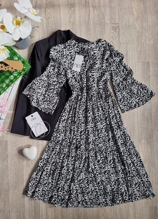 Міді плаття в квітковий принт від zara ♡