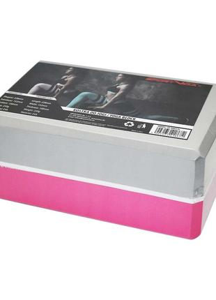 Блок для йоги двухцветный sportvida pink/grey