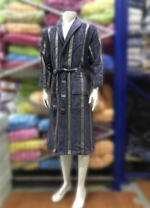 Качественный натуральный хлопковый махровый длинный мужской халат 44-54 турция