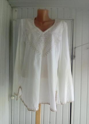 Красивая коттоновая блуза туника с вышивкой вышиванка