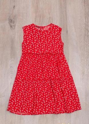Стильный сарафан летнее платье для девочки с цветочным принтом 128/152