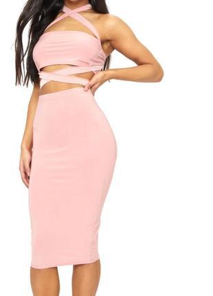 Новая розовая юбка-миди на высокую посадку 😍