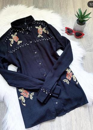 Новая чёрная рубашка с вышивкой и камнями 😍