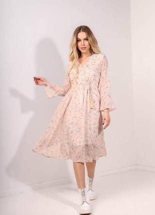 Легкое шифоновое платье миди цветочный принт разные цвета
