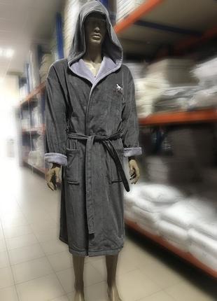 Качественный натуральный хлопковый махровый длинный халат с капюшоном 48-54 турция