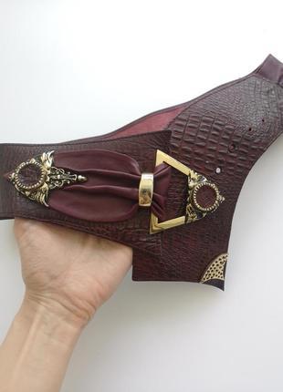Роскошный эксклюзивный винтажный кожаный широкий ремень пояс винтаж