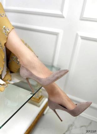 Туфли эко-замш бежевый