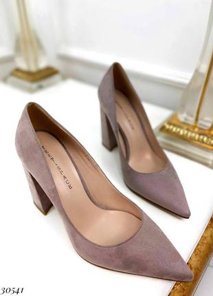 Туфли на устойчивом широком каблуке эко замш