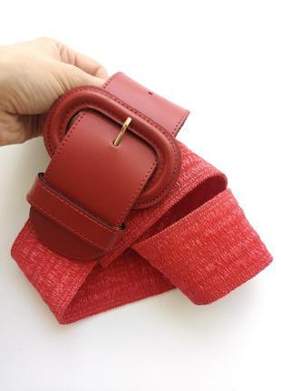 Красивый винтажный красный  ремень пояс на резинке кожа батал большой размер