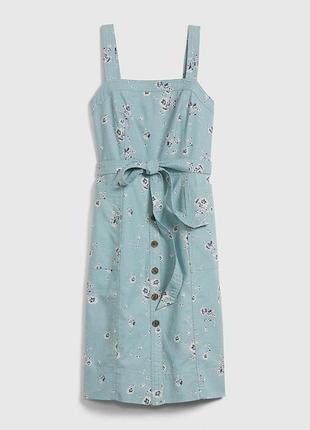 Платье-сарафан повседневное миди хлопок+лен