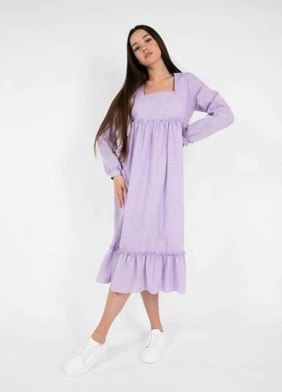 Лиловое хлопковое натуральное миди платье оверсайз квадратный вырез хс-л