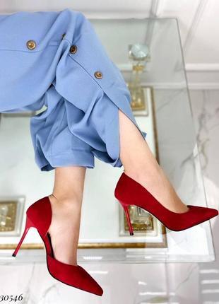 Туфли на шпильке эко-замш красный
