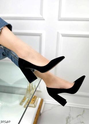 Туфли на широком каблуке эко-замш черный