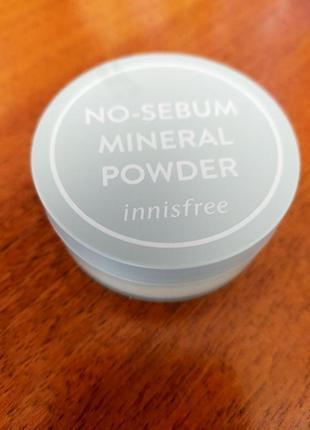 Матирующая минеральная пудра no-sebum mineral powder innisfree