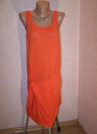 Оранжевое платье 100%лен трикотаж
