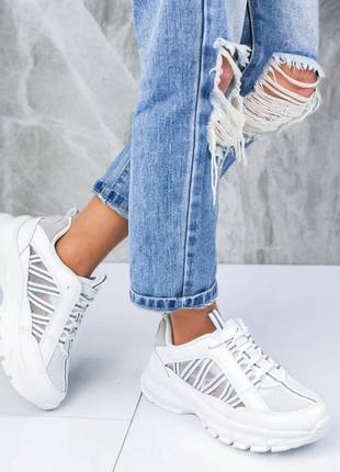Распродажа! летние белые легкие дышащие кроссовки на высокой подошве 36,37,38