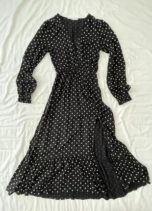 Zara платье в горошек с вырезом