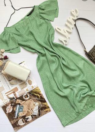 Зелёное платье в горошек zara