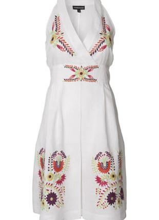 🌯нарядное белое платье 100% лён с цветочной вышивкой