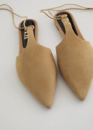 Замшевые сандалии, босоножки с острым носом! кожаные мюли