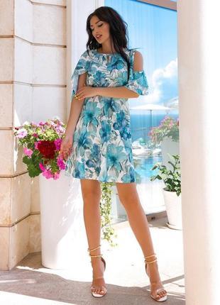 Платье цветочный принт,софт вискоза,прямого кроя свободное, крылышки плечики открытые