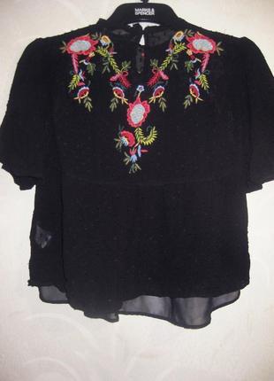 Блуза zara индия чёрная с вышивкой цветы