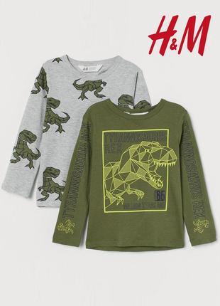 H&m котоновый реглан лонгслив с динозаврами 122 128 134 140