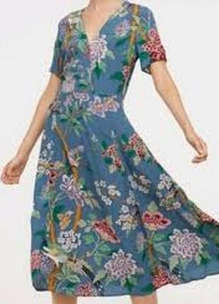 Красивое платье миди принт птицы/цветы