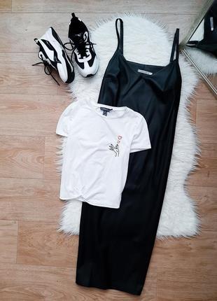 Чёрный миди сарафан платье эко кожа на тонких бретелях
