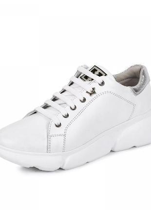 Женские кроссовки белые кожаные (натуральная кожа) весенние/летние/осенние - женская обувь 2021