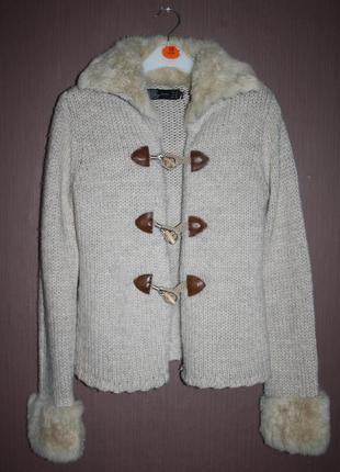 Теплый свитер кардиган с мехом кролика zara №50