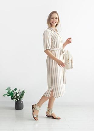 Льняное платье-рубашка,италия