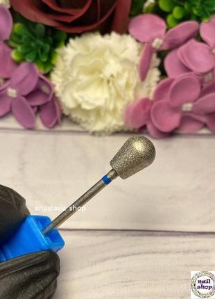 """Алмазная фреза """" груша"""" синяя насечка d=9 мм, рабочая часть 11 мм"""