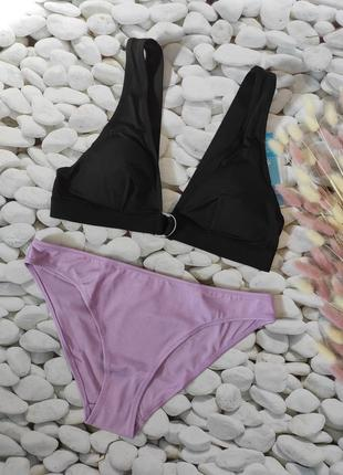 💜стильный купальник h&m, бикини, топ, l 40 euro, плавки слип