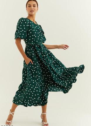 Шикарна сукня міді в горох / платье-миди