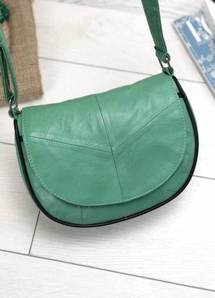 Женская зеленая сумка натуральная кожа код 22-113