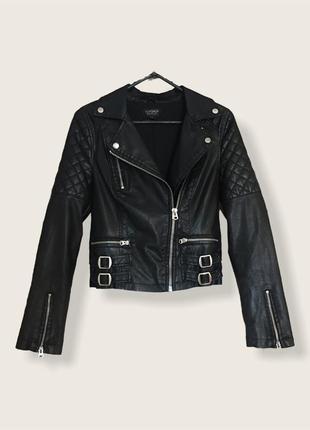 Ідеальна шкіряна,базова,чорна куртка косуха від бренду topshop