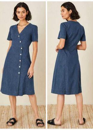 Качественное стильное джинсовое платье на пуговицах 52-54 размера