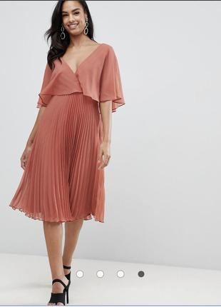Платье миди с рукавами клеш и плиссированной юбкой asos design
