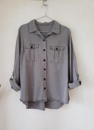 Новая лиоцеловая блуза рубашка next оттенка хаки