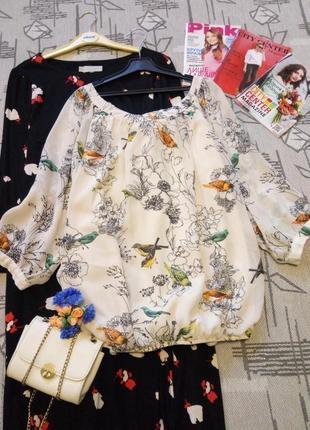 Красивая нежная кремовая блуза с шикарным принтом! размер s-m, wallis