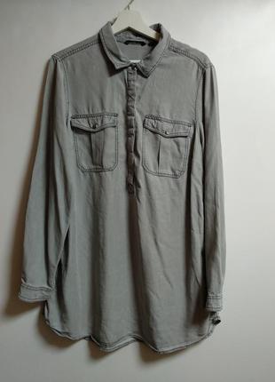 Удлиненная джинсовая рубашка платье на кнопках 100% лиоцел 18/52-54 размера